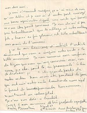 Lettre Autographe Signée à un ami qui a perdu son fils à la guerre.: BERNSTEIN...