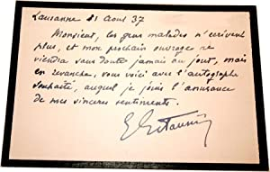 Carton Autographe Signé. LausanneAoût 1937.: ESTAUNIE (Edouard).