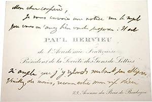 Carte de Visite Signée du 31 juillet: HERVIEU (Paul).