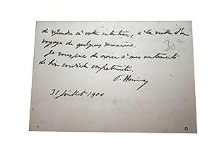 Carte de Visite Signée du 31 juillet 1900. Paul Hervieu de l'Académie Fran&...