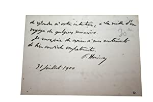 Carte de Visite Signée du 31 juillet 1900. Paul Hervieu de l'Académie: HERVIEU (Paul).