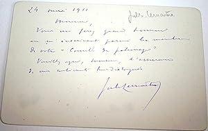 Carte Autographe Signée. En date du 24 mai 1911.: LEMAITRE (Jules)