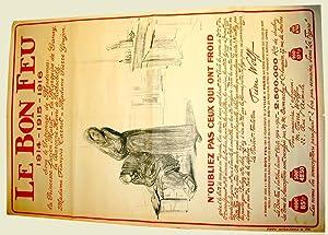 Affiche lithographie signée FORAIN. LE BON FEU 191419151916.: FORAIN