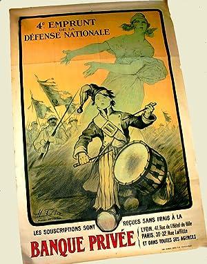 Affiche Lihographie en couleur signée FALTER. 4ème Emprunt de la Défense ...