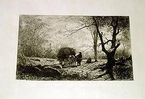 Eauforte sur Papier de chine mince. Chemin des Roches (environs de: APPIAN Adolphe(