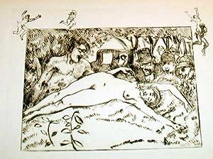 """Trés belle eauforte des années 30en sépia avec remarque """"Femme nue: ASSIRE Gustave"""