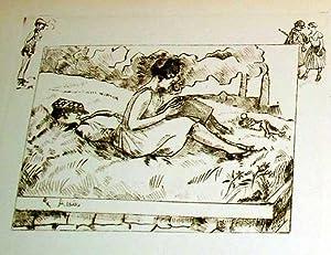 """Trés belle eau-forte des années 30 en sépia avec remarque """"Les Amoureux&..."""