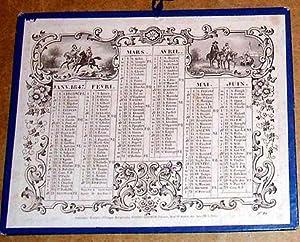 1847Beau calendrier présenté sur les 2 faces, papier blanc collé sur: ...