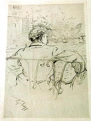 """Très belle EAUFORTE """" Souvenir de Voyage""""signée dans la planche: ..."""