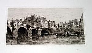 """Très belle EAUFORTE avant la lettre sur papier Vergé """"Le Pont Neuf,: DELAUNEY ..."""