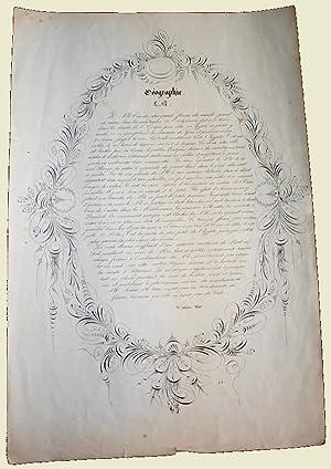 Ce très belle page présente un décor calligraphique imprimé qui ...