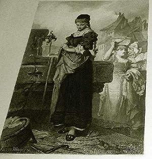 """Très belle Gravure """"Femme à la Fontaine"""". Gravée par GOLDBERG Georg ..."""