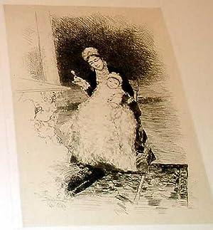 """Très belle épreuve"""" Baby and Nurse ou le Hochet """". signée dans la: JIMENEZ Y ARANDA"""