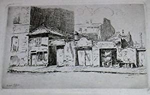 """Très belle eau-forte originale sur papier vergé """"Rue du Montparnasse"""". sign..."""