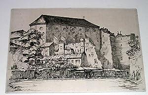 """Très belle eau-forte """"Chapelle des Jésuites (Boulevard Raspail)"""". sign&..."""