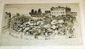 """Très belle eauforte originale sur papier de chine, """"Rue Lepic"""".: LABORDEErnest"""