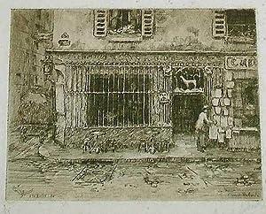 """Très belle eauforte originale """"A la Biche, Rue Geoffroy Saint: LABORDEErnest"""