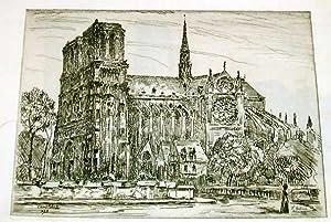 """Très belle EAUFORTEcontrecollée, """"NotreDame de Paris"""". signée dans: ..."""