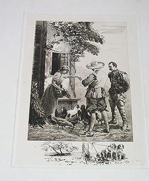 """Très belle gravure avant la lettre avec remarque """"Le Dejeuner, 1880"""" signée..."""