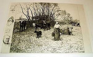 """Très belle gravure avec remarques """"Paysages et animaux, 1879"""": LOS RIOS de Ricardo"""