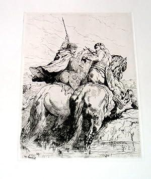 """Très belle EAUFORTE """" Retour de chasse dans les Gaules."""" signée dans: ..."""