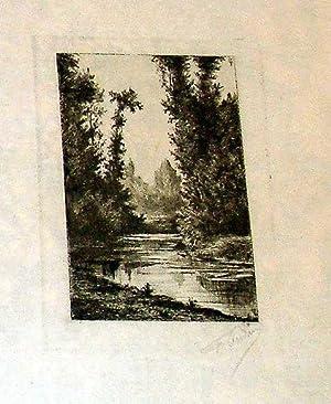 Très belle eau-forte avant la lettre sur papier de chine représentant un paysage de ...