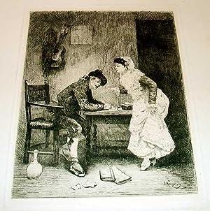 """Très belle gravure """"L'Ecrivain public en Espagne"""".: ROUGERON Jules James ( ..."""