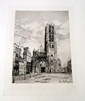 """Très belle EAUFORTE sur papier vergé """" La Tour Saint Laurent a Rouen,: SAFFREY ..."""