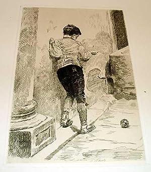 """Très belle gravure """" Chaque age a ses plaisirs"""": WORMS Jules"""