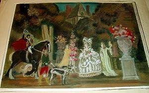 """Magnifique Pastel original intitulé """"FANTAISIES INSPIREES DE WATTEAU"""": ..."""