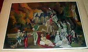"Magnifique Pastel original intitulé ""FESTIVITES"": ALLOUARD-CARNY Paul (1884-1961)"