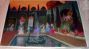 """Magnifique Pastel original intitulé """"RECEPTION"""": ALLOUARD-CARNY Paul (1884-1961)"""