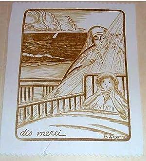 Gravure imprimée sur tissé dAlbène signé B.de GUINHALD repré...
