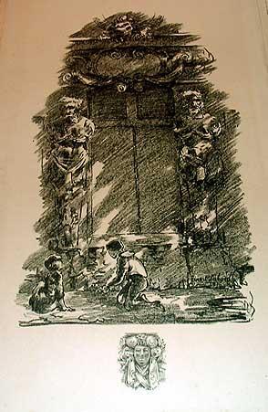 """Très belle lithographie avec remarque sur papier vergé """"Enfants jouant devant un..."""