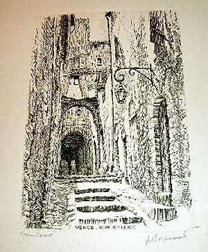 Très belle eau-forte sur papier d'Arches. Intitulée Vence. Rue Ste LUCE. Epreuve...