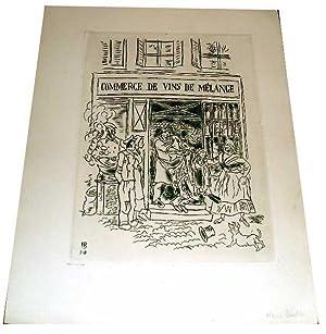 Très belle gravure sur cuivre sur papier fort, représentant un commerce de vins'...