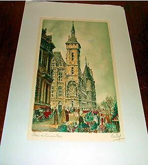 Très belle gravure en couleurs annotée au crayon Paris, Le Quai aux Fleurs, Sign&...