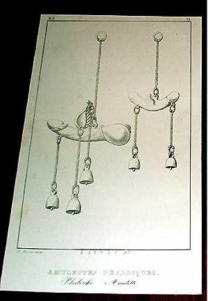 Gravure débutXIX ème intiltulée Amuletttes Phalliques: GRAVURE XIXème