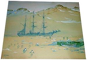 Aquarelle originale signée F.Janou, non datée represent une expédition polaire...