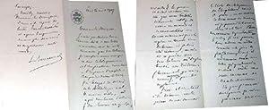 Belle lettre autographe de Léon BARRACANT à entête du Cercle de l'Union ...
