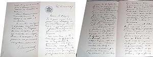 Belle lettre autographe de Léon BARRACANTà entête du Cercle de: BARRACAND (Léon...