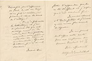 Lettre manuscrite à entête de l'Institut catholique de Paris d'Afred: BAUDRILLART...