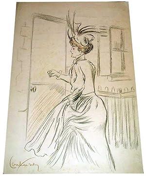 Dessin original crayonépoque ArtNouveau représentant une femme: Dessin original