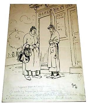 Dessin à l'encre de chine - Caricature Politique Dame pipi signée GUY. Legende :...