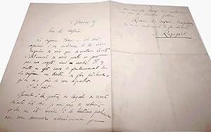 Lettre autographe signée RAPOPORT. Au sujet de la Coférence BERRYER.: RAPOPORT