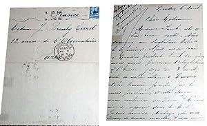 """Belle lettre d'e Suzanne SEYLOR à Jeanne BRANLY-TERRAT """" Mme Sarah est en tr&..."""