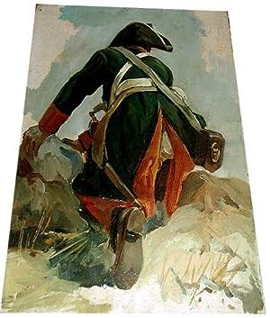 Huilesur carton non signée représentantun soldat Napoleonnien. De: HUILE SUR CARTON