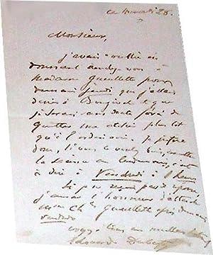 Lettre autographe d' Edouard DUBUFE au sujet d'un rendez-vous avec Mme GUEULETTE charles....