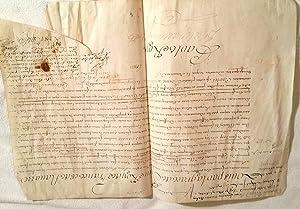 """DISPENSE D'AGE. Manuscrit sur parchemin signé """"Louis"""" (secrétaire), ..."""