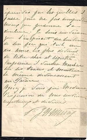 Lettre autographe ecrite et signée par la Princesse MURAT au sujet de la mort de Monsieur ...